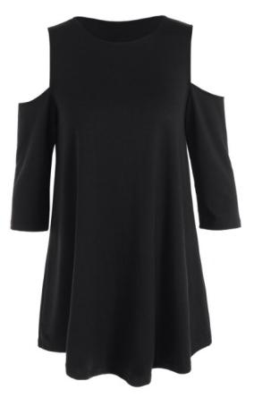 Suelta Con Hombros De La Camiseta - Negro